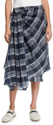 Brunello Cucinelli Plaid Cotton-Silk Wrap Skirt