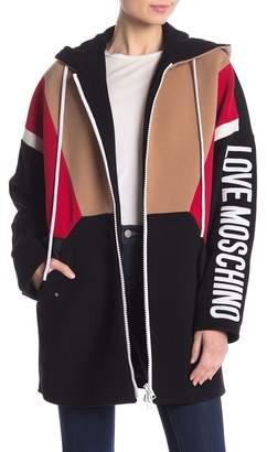 Love Moschino Colorblock Logo Wool Blend Zip Up Jacket