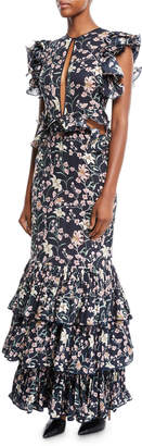 Johanna Ortiz Dark Florals Ruffled Cap-Sleeve Slit-Front Floral-Print 3-Tier Hem Silk Georgette Gown