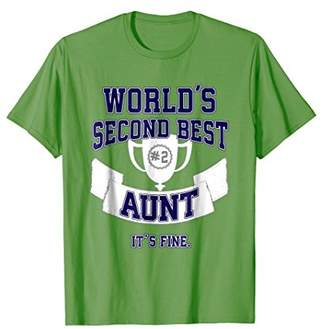 Funny Aunt T-Shirt for Women Second Best Trophy Gift
