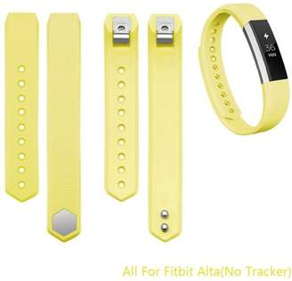 Fitbit iGK Alta Bands Adjustable Replacement Wrist Bands Soft Silicon Strap-No Tracker(Yellow, Large)
