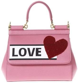 Dolce & Gabbana Sicily Love Rose Leather Hand Bag