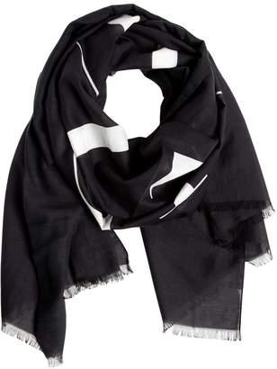 Valentino Vltn Logo Jacquard Cotton & Silk Scarf
