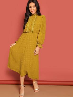 Shein Frilled Half Placket Bell Sleeve Swiss Dot Dress