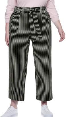 fb323545a066b Popsugar Plus Size POPSUGAR Paperbag-Waist Wide Leg Crop Pants
