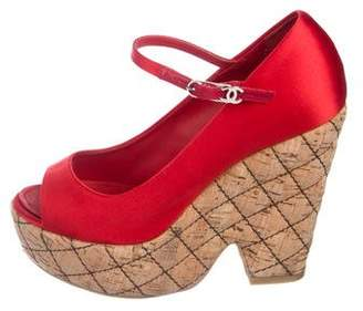 Chanel Quilted Platform Open-Toe Pumps