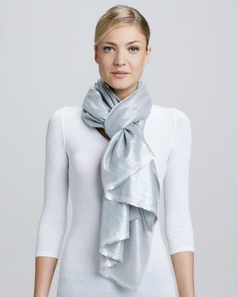 Bajra Metallic Tight Weave Scarf, Gray