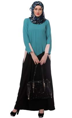 Modest Forever Sky Blue & Black Colour Block Abaya with Pockets(P152 -L__L)