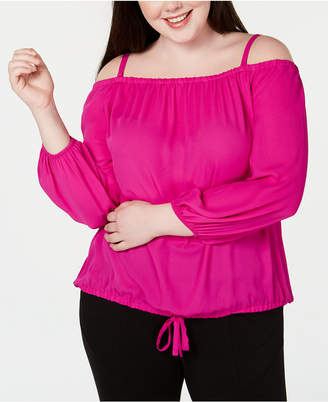 INC International Concepts I.n.c. Plus Size Off-The-Shoulder Tie-Front Top