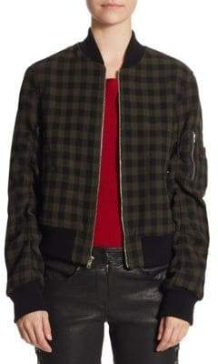 A.L.C. Andrew Gingham Wool Bomber Jacket