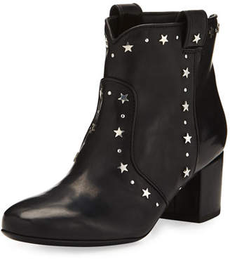 Laurence Dacade Belen Star-Studded Leather Booties, Black