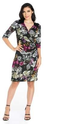 24/7 Comfort Apparel 24seven Comfort Apparel Blossoming Belle Floral Long Sleeve Wrap Dress