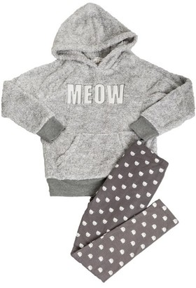 PJ Salvage Kids Pajama Set Playful PLUSH MEOW Grey Large Size 6