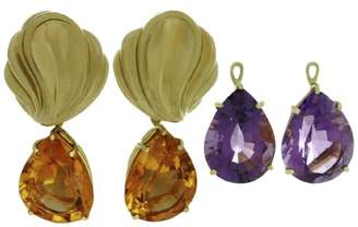 Tiffany & Co. Paloma Picasso 18K Yellow Gold Amethyst, Citrine Day & Night Pendant Earrings