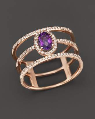 Bloomingdale's Amethyst and Diamond Geometric Ring in 14K Rose Gold - 100% Exclusive