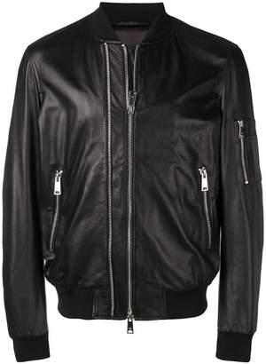 Emporio Armani double zip leather jacket