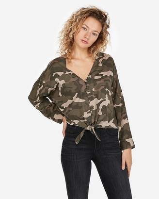 Express Camo Tie Front Silky Soft Twill Shirt