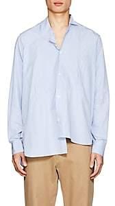 Loewe Men's Striped Cotton Poplin Asymmetric Shirt - Lt. Blue