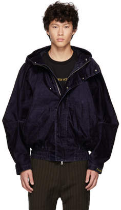 Feng Chen Wang Navy Draped Jacket
