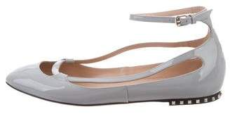 Valentino Patent Leather Ankle Strap Flats