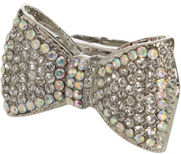 Wet Seal WetSeal Bling Bow Stretch Ring Silver
