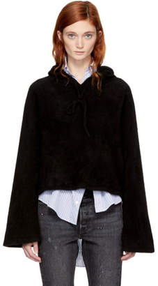 The Elder Statesman Black Cropped Cashmere Hoodie