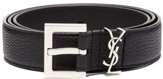 Saint Laurent Monogram Grained Leather Belt - Mens - Black