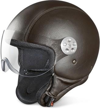 Piquadro Open Face Dark Brown Leather Helmet w/Visor