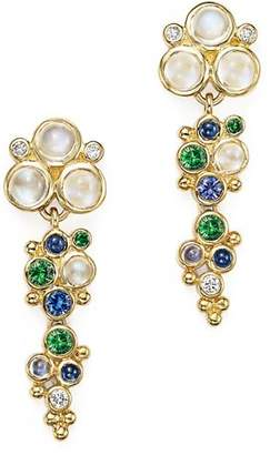 Temple St. Clair 18K Yellow Gold Mare Drop Earrings with Tsavorite, Sapphire, Blue Moonstone and Diamond