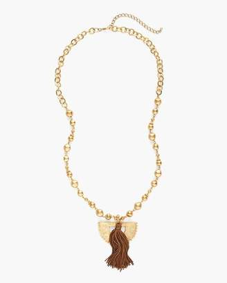 Long Gold-Tone Textured Tassel Necklace