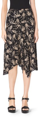 Michael Kors Floral-Embroidered Silk-Georgette Skirt