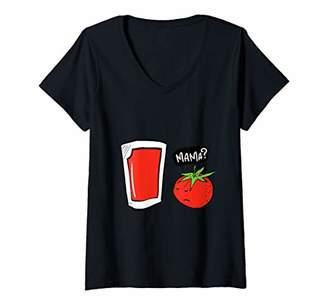 Womens Funny Vegan Tomato Juice And Salad V-Neck T-Shirt