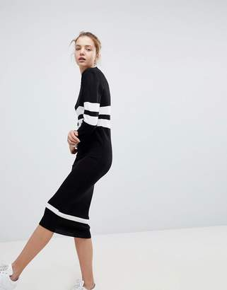 Daisy Street Relaxed Sweater Dress With Sports Stripe