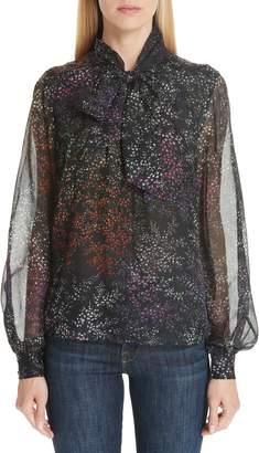 Co Floral Print Tie Neck Silk Chiffon Blouse