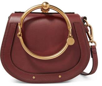 Chloé Nile Bracelet Small Leather And Suede Shoulder Bag - Burgundy