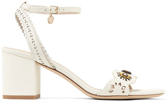 Tory Burch - Marguerite Embellished Perforated Leather Sandals - Ivory $325 thestylecure.com