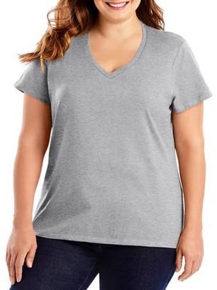 Hanes Women's Plus-Size Lightweight Short Sleeve V-neck