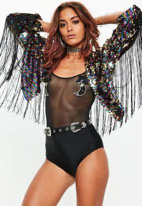 Missguided Black Sequin Fringe Festival Jacket