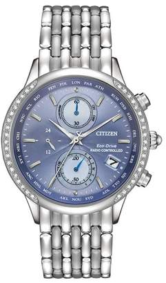 Citizen Women's Eco-Drive World Chronograph A-T Diamond-Accent Bracelet Watch, 38mm
