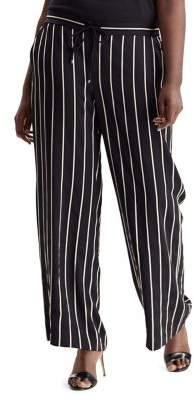 Lauren Ralph Lauren Plus Striped Mid-Rise Pants
