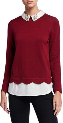 Joan Vass Jewel Collar Cotton Sweater with Silk Layer