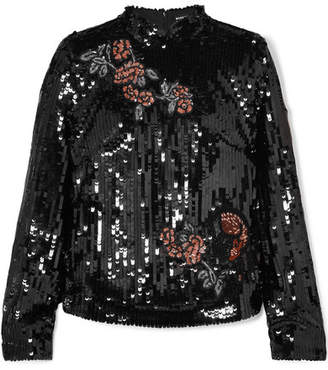 Markus Lupfer Valentine Sequined Tulle Top - Black