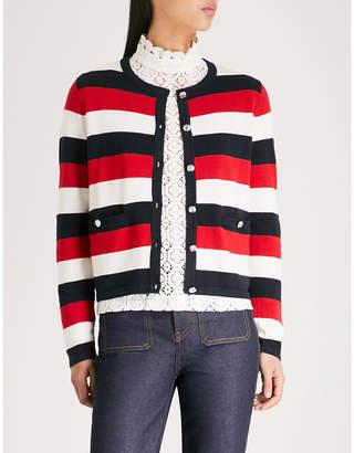 Claudie Pierlot Striped-pattern knitted cotton-blend cardigan