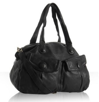 Linea Pelle black leather 'Piper' double weekender