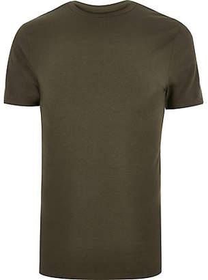 River Island Mens Big and Tall Khaki green muscle fit T-shirt