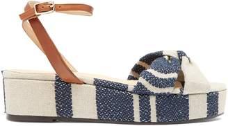 CASTAÑER Angela linen flatform sandals $160 thestylecure.com