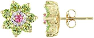 Laura Ashley Jewelry Sterling 1.95 cttw Gemstone & Diamond Earrings