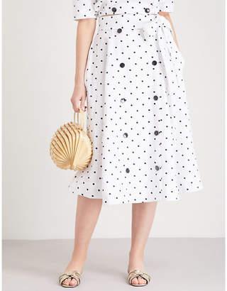 Lisa Marie Fernandez Diana polka dot-embroidered linen skirt