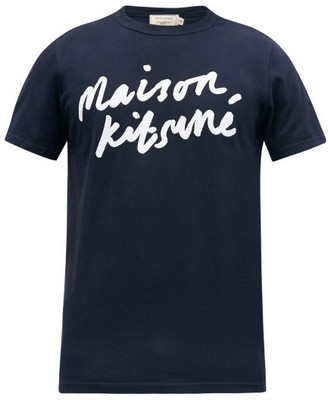MAISON KITSUNÉ Fox Applique Cotton T Shirt - Mens - Navy