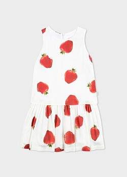 Paul Smith Girls' 8+ Years White 'Strawberry' Print Dress